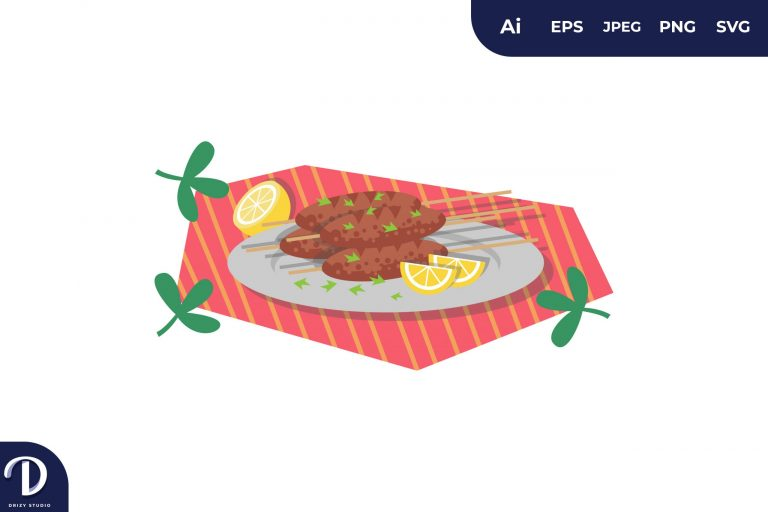 Shish Tawook Middle East Food Illustration