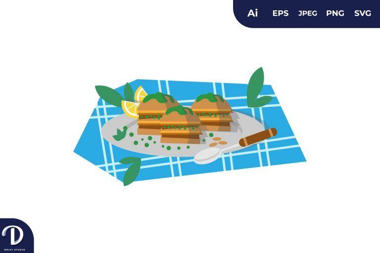Baklava Middle East Food Illustration
