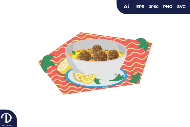 Kufta Bobazh Middle East Food Illustration