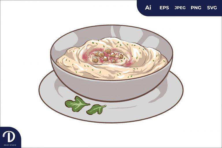 Hummus Middle East Food Illustration