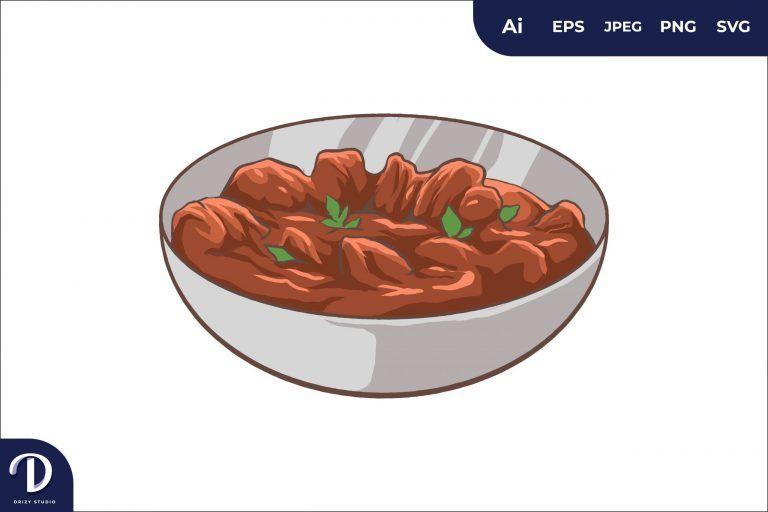 Ful Medames Middle East Food Illustration