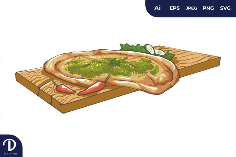 Manakish Middle East Food Illustration