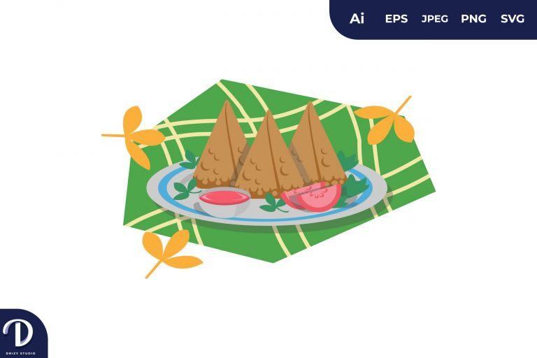 Fatayer Middle East Food Illustration
