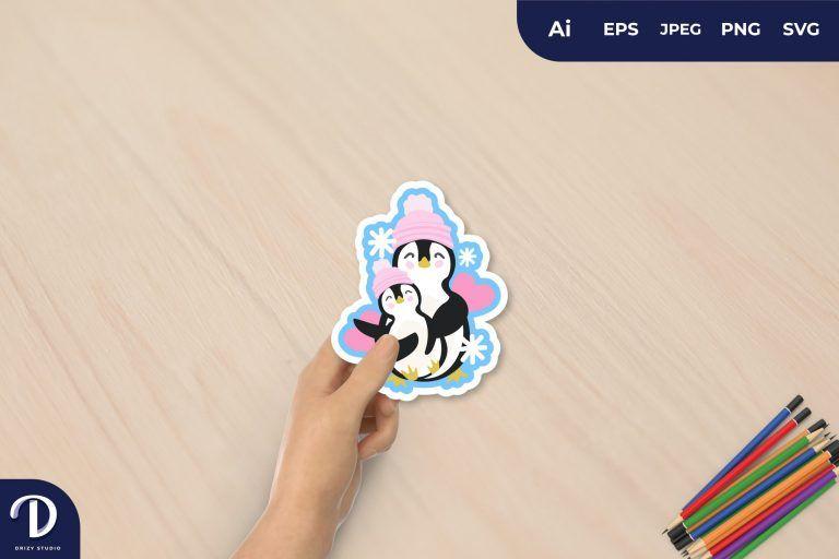 Mom and Little Penguin for Sticker