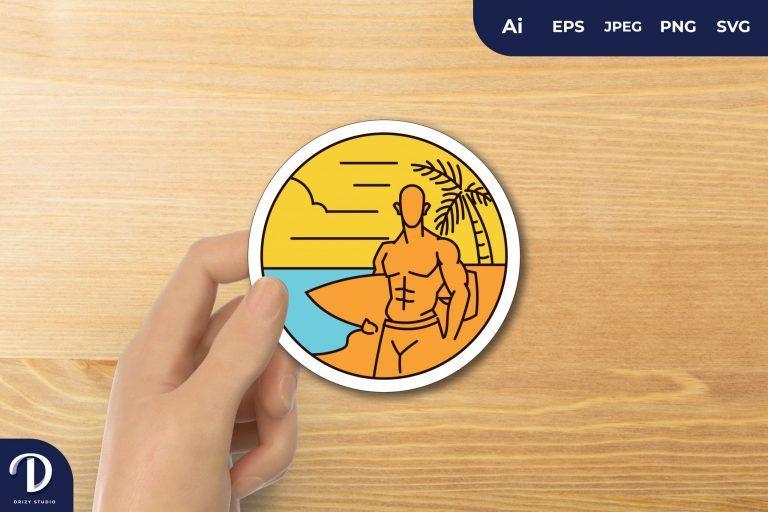 Monoline Surfer in the Beach for Sticker