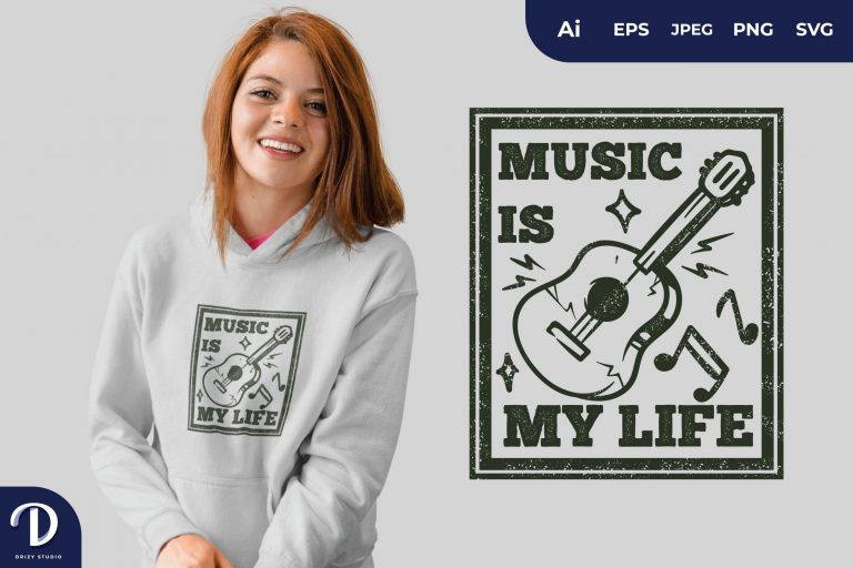 Preview image of Guitar Music is My Life for T-Shirt Design