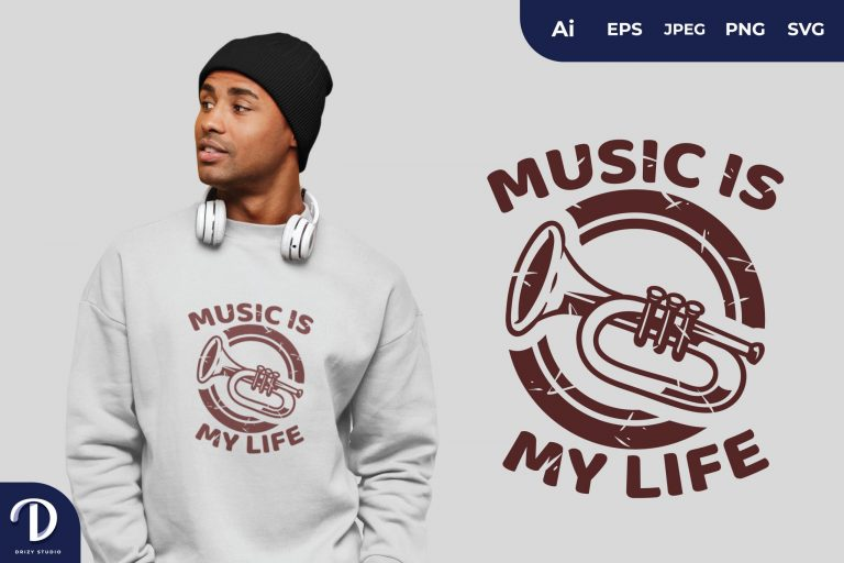Preview image of Trumpet Music is My Life for T-Shirt Design