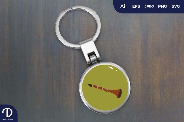 Clarinet Music Keychain