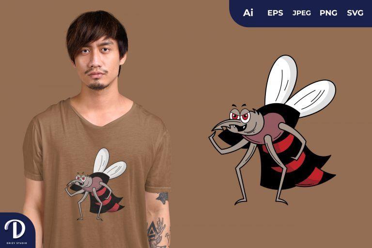 Tough Mosquito Dracula Illustration for T-Shirt Design
