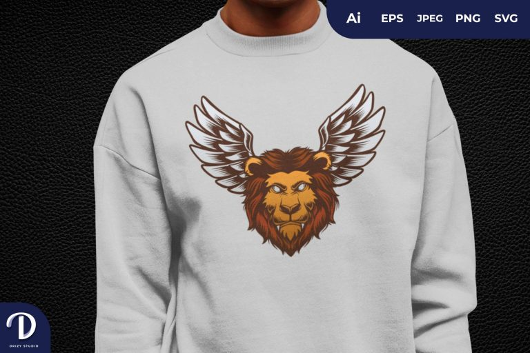 Mythical Winged Lion Head for T-Shirt Design