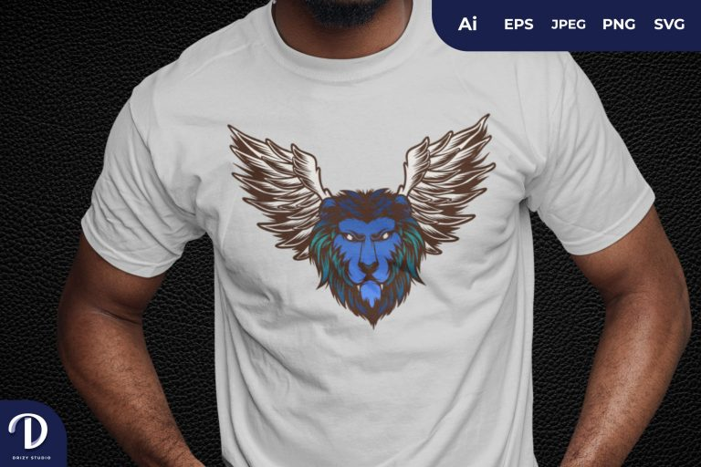 Blue Mythical Winged Lion Head for T-Shirt Design