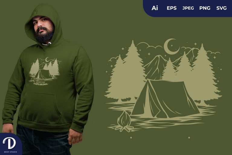 Never Stop Exploring at Night for T-Shirt Design