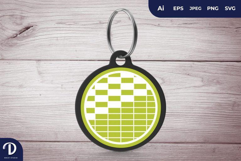 Green Circle Pattern Keychain
