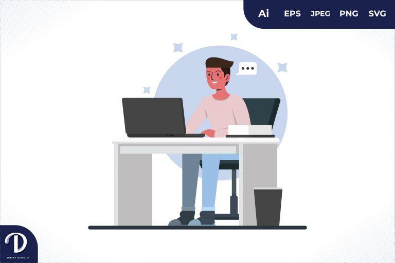 Work Men Office Workers Sitting At Desks