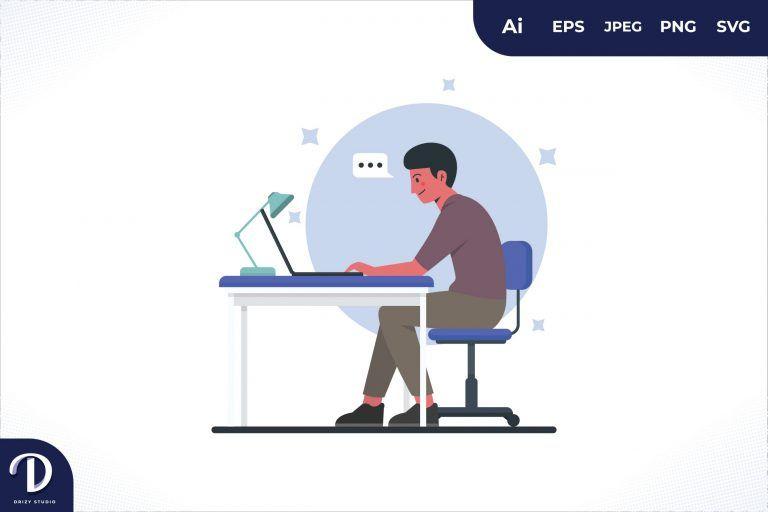 Enjoy Men Office Workers Sitting At Desks