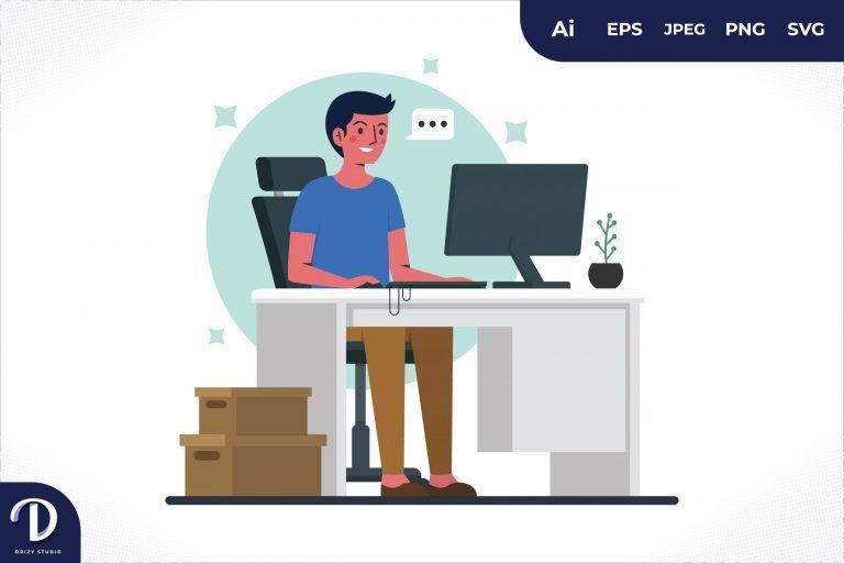 Having Time Men Office Workers Sitting At Desks