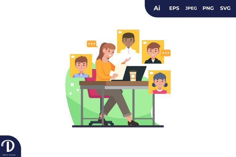 Women on Presentation Online Meeting