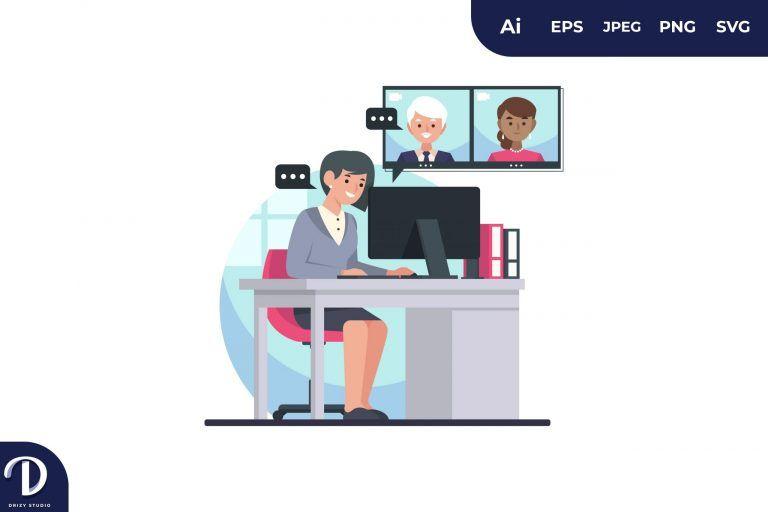 Office Worker Online Meeting