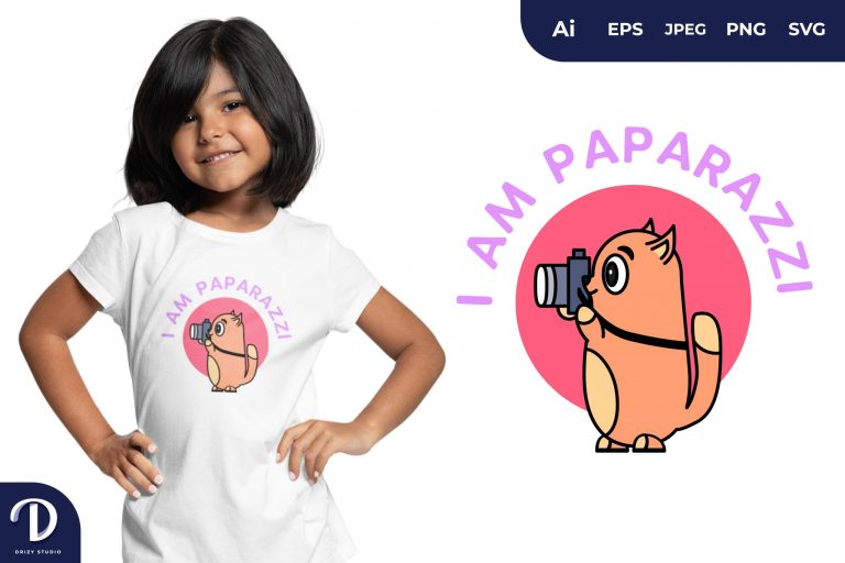 Preview image of Cat Paparazzi Animal for T-Shirt Design