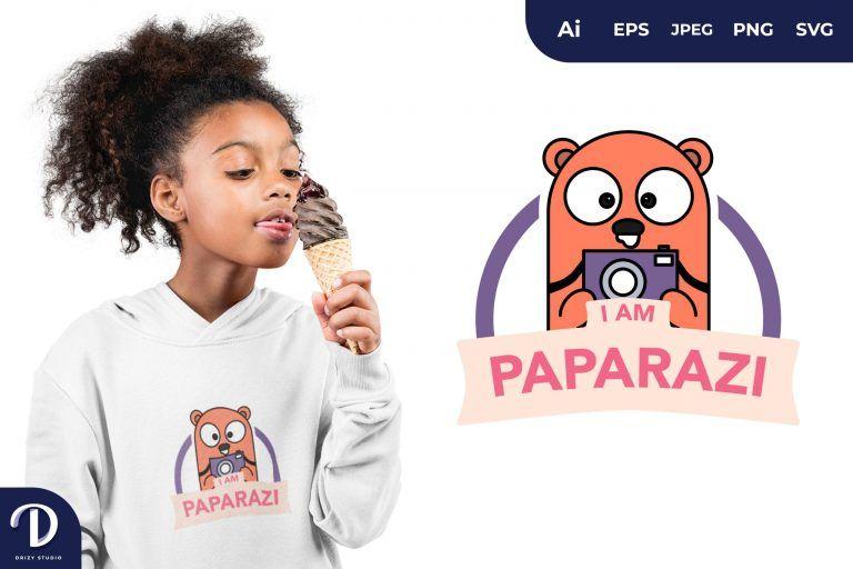 Bear Paparazzi Animal for T-Shirt Design