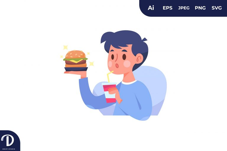 Burger People with Food Concept