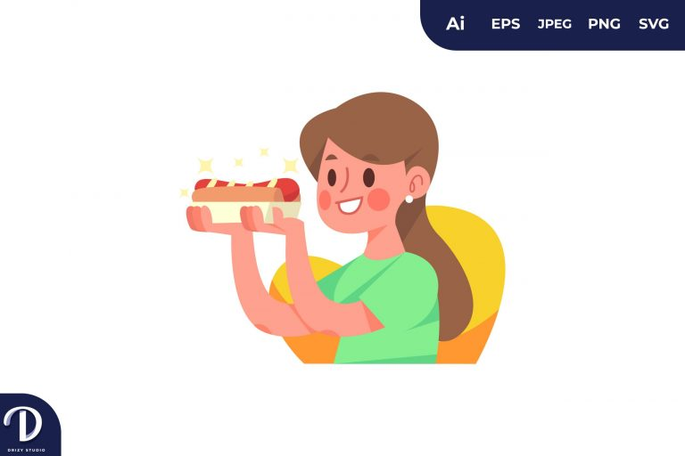 Hot Dog People with Food Concept