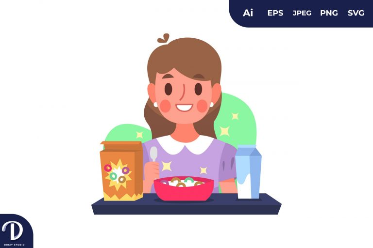 Cereal People with Food Concept