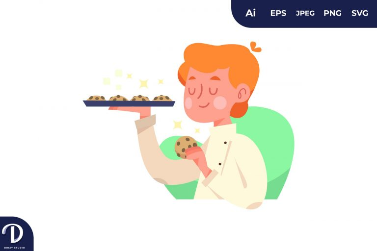 Cookies People with Food Concept