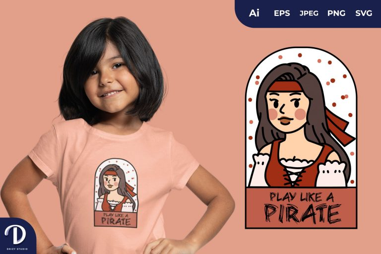 Pirates and Captain for T-Shirt Design