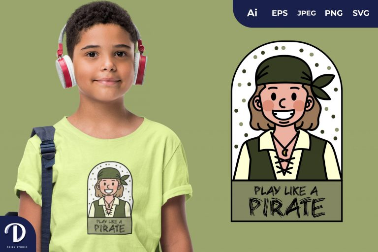 Red Boy Pirates and Captain for T-Shirt Design