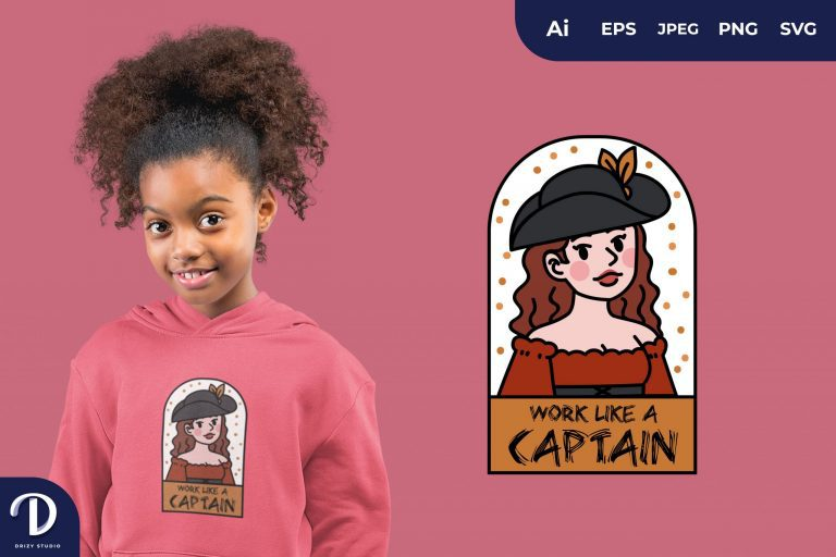 Red Girl Pirates and Captain for T-Shirt Design