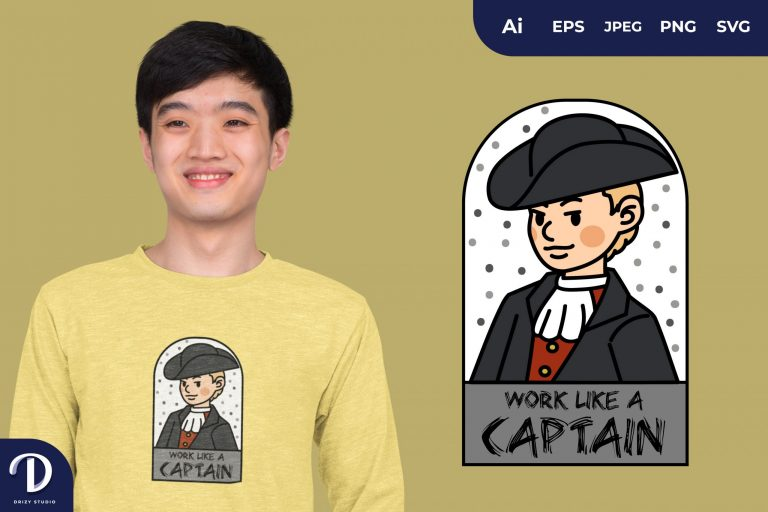 White Boy Pirates and Captain for T-Shirt Design