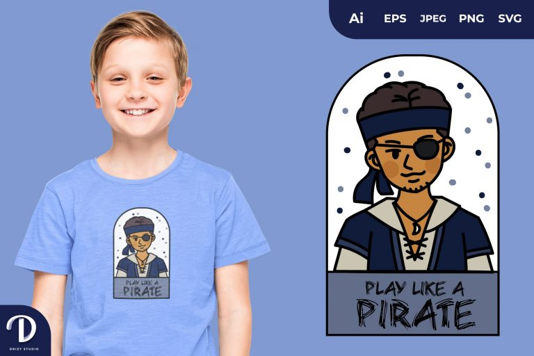 Preview image of Exotic Boy Pirates and Captain for T-Shirt Design