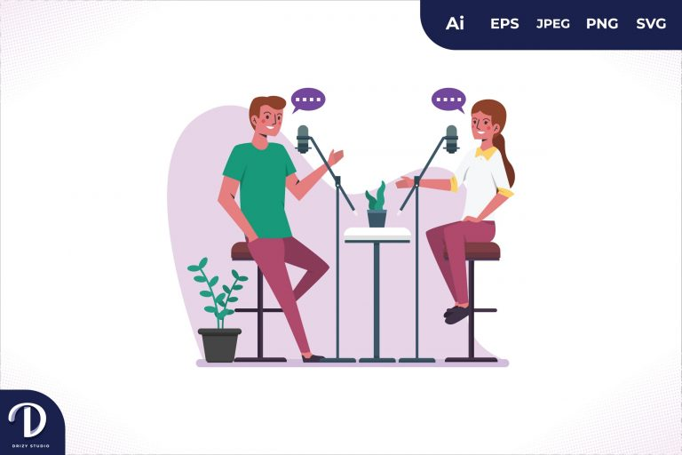 Without Desk Podcast Illustration Concept