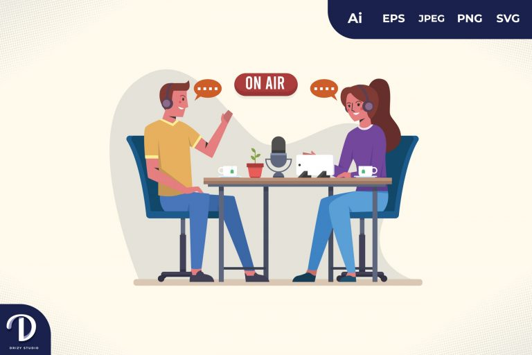 Preview image of One Microphone Podcast Illustration Concept