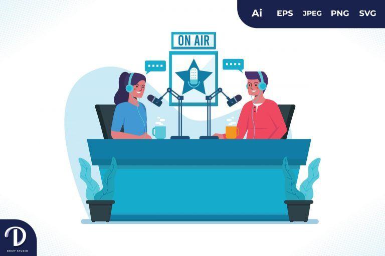 Preview image of Radio Studio Podcast Illustration Concept
