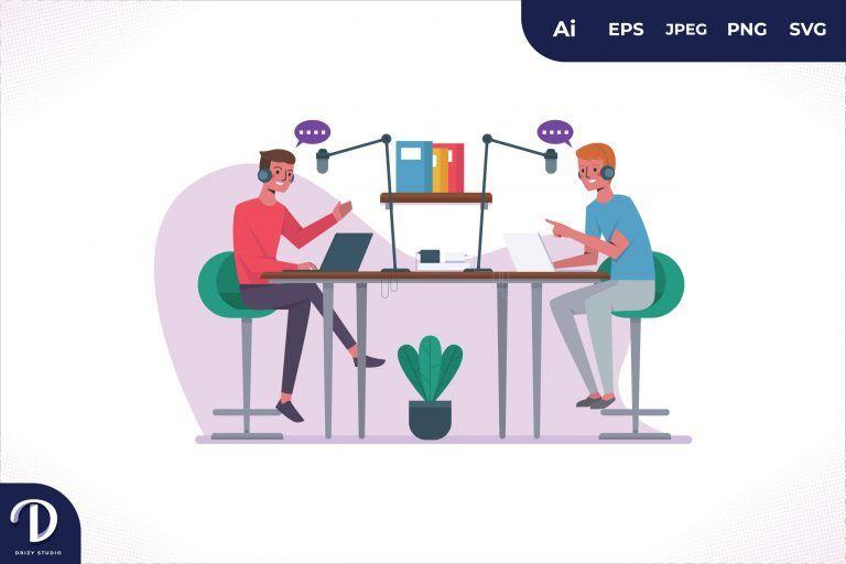 Desk Podcast Illustration Concept