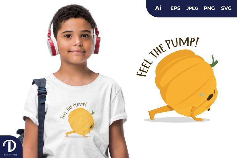 Push Up Pumpkin Exercising for T-Shirt Design