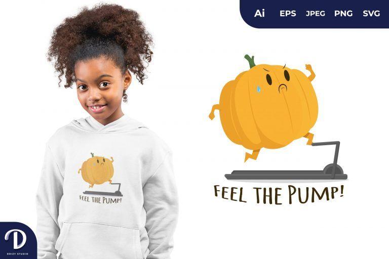Running Pumpkin Exercising for T-Shirt Design