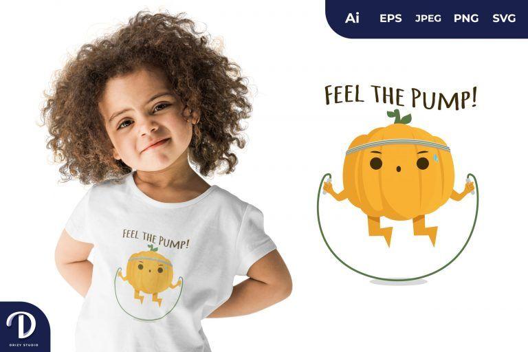 Skipping Pumpkin Exercising for T-Shirt Design