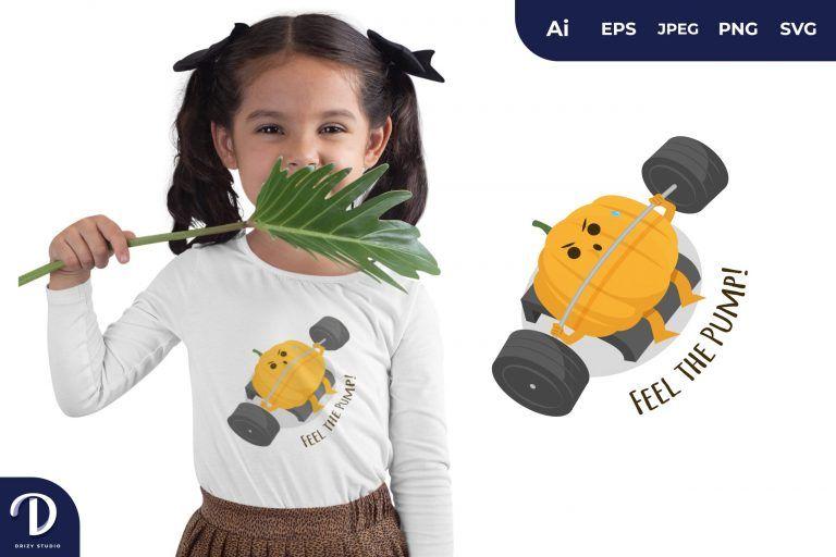 Bench Press Pumpkin Exercising for T-Shirt Design