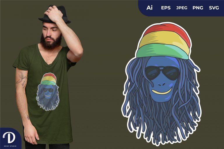 Blue Skin Rasta Alien Head for T-Shirt Design