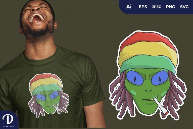 Rasta Alien Head for T-Shirt Design