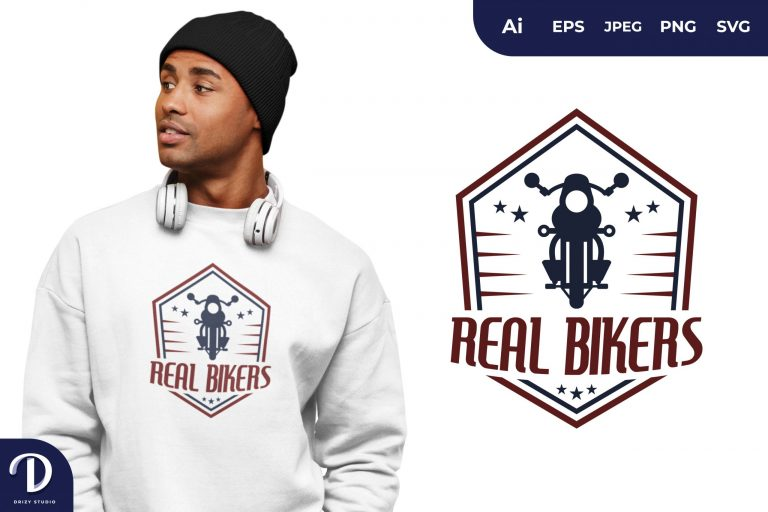 Classic Motorcycle Real Bikers for T-Shirt Design