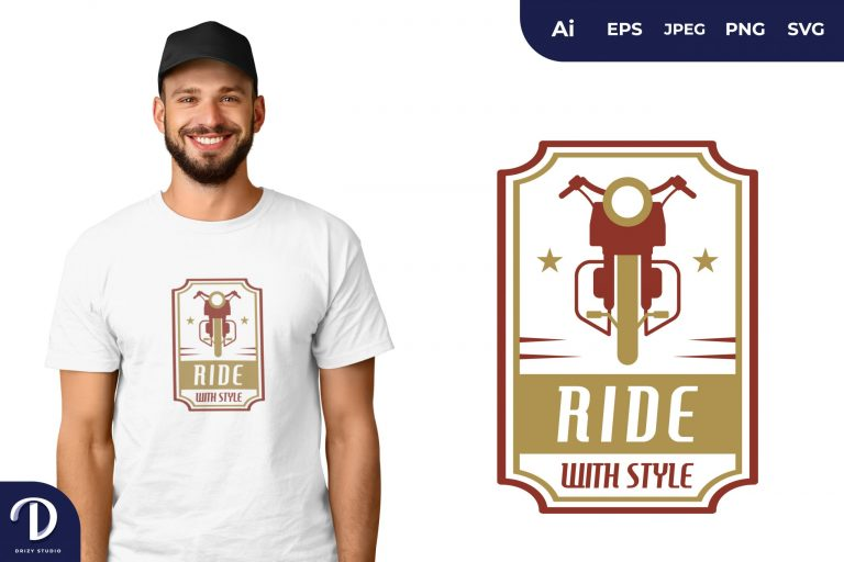 Classic Motorcycle Ride With Style for T-Shirt Design