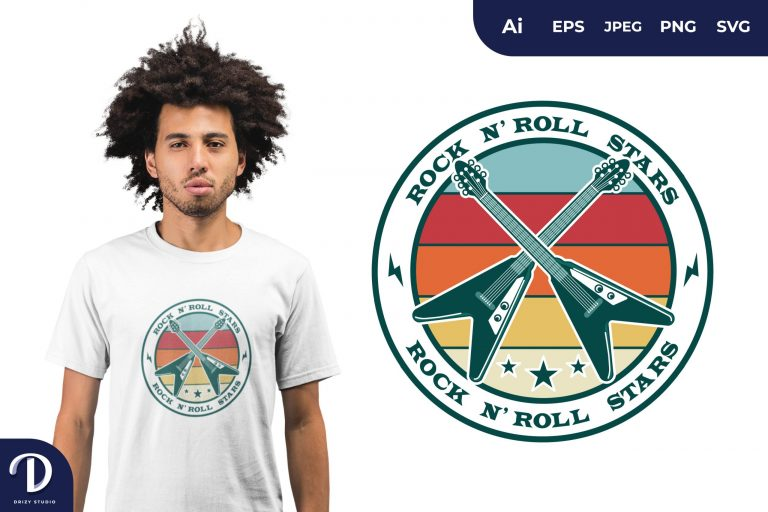 Guitars Rock and Roll for T-Shirt Design