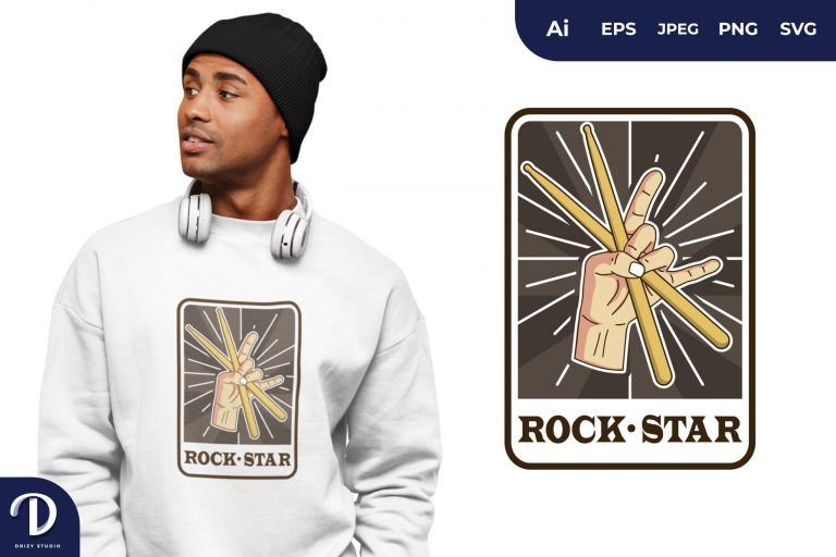Drum Sticks Rock and Roll for T-Shirt Design