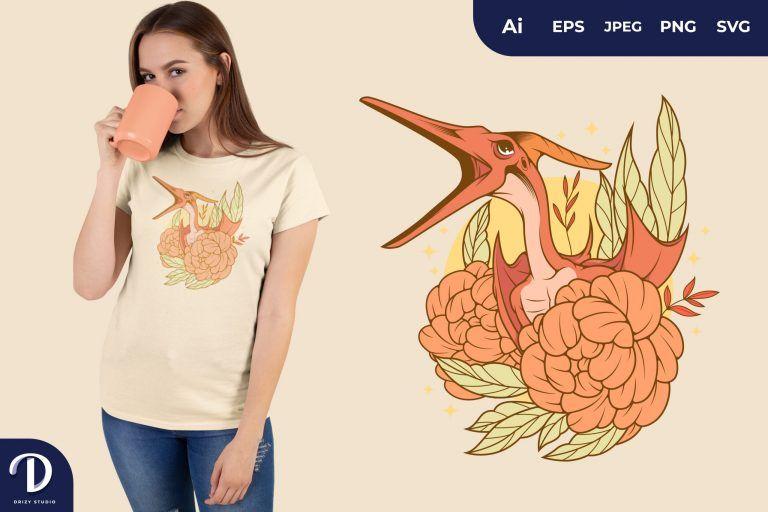 Pterodactyl Romantic-Dinosaurs for T-Shirt Design