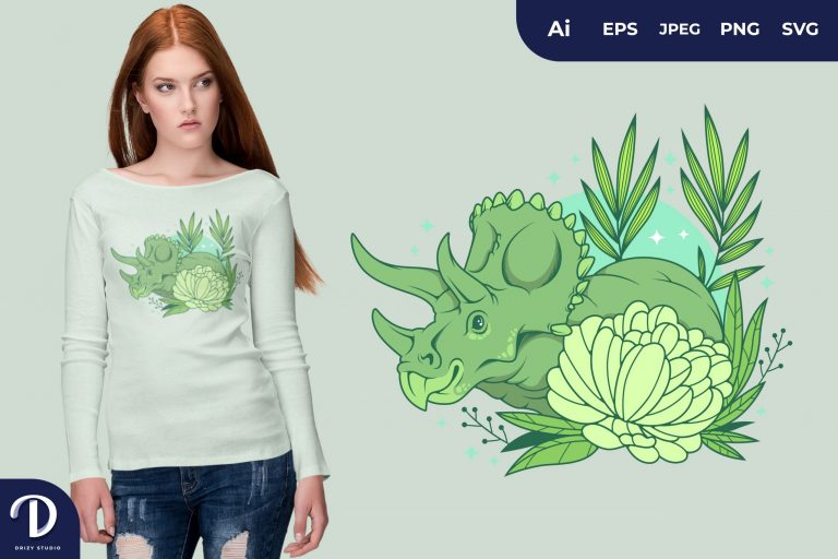 Triceratops Romantic-Dinosaurs for T-Shirt Design