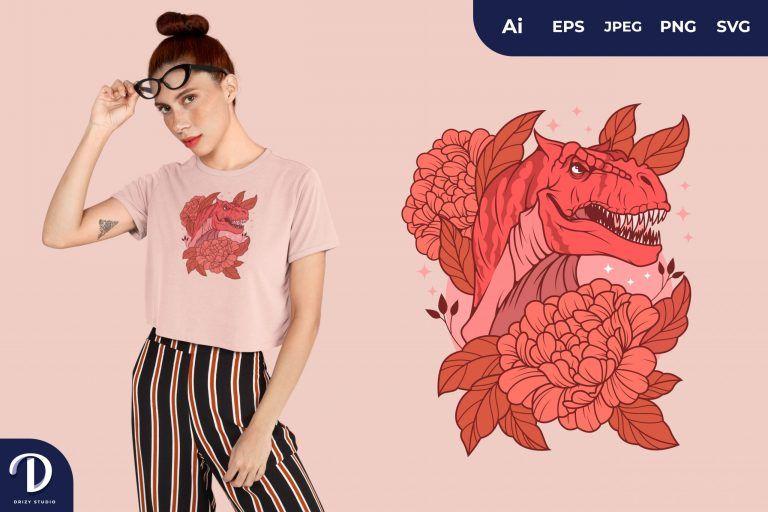 Carnotaurus Romantic-Dinosaurs for T-Shirt Design